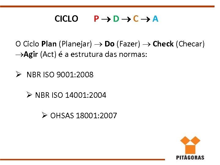 CICLO P D C A O Ciclo Plan (Planejar) Do (Fazer) Check (Checar) Agir