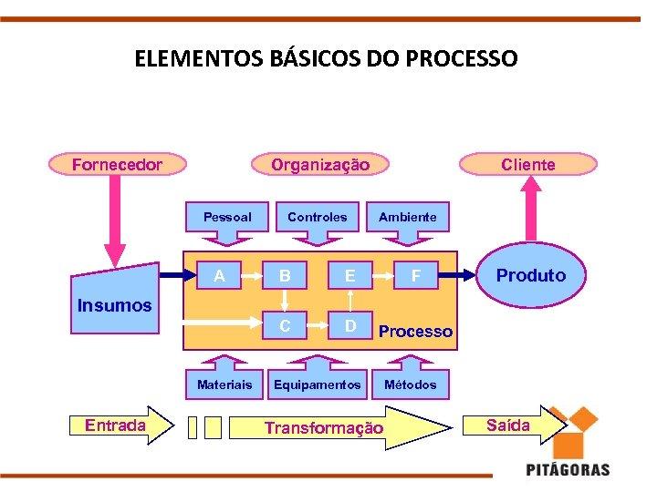 ELEMENTOS BÁSICOS DO PROCESSO Fornecedor Organização Pessoal A Controles Cliente Ambiente B E F