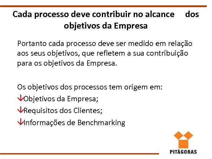Cada processo deve contribuir no alcance objetivos da Empresa dos Portanto cada processo deve