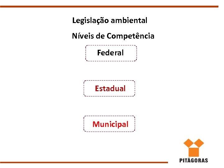 Legislação ambiental Níveis de Competência Federal Estadual Municipal