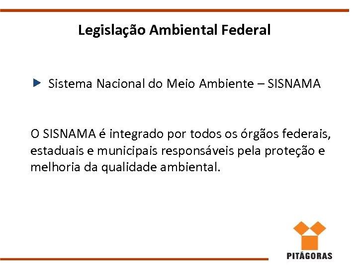 Legislação Ambiental Federal Sistema Nacional do Meio Ambiente – SISNAMA O SISNAMA é integrado