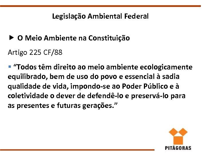 """Legislação Ambiental Federal O Meio Ambiente na Constituição Artigo 225 CF/88 § """"Todos têm"""