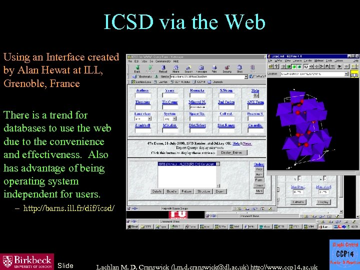 ICSD via the Web Using an Interface created by Alan Hewat at ILL, Grenoble,
