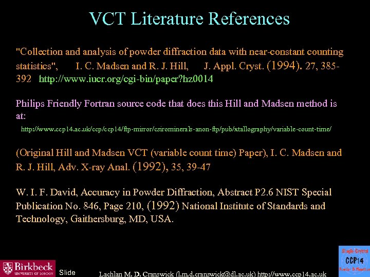 VCT Literature References