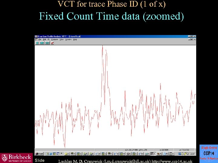 VCT for trace Phase ID (1 of x) Fixed Count Time data (zoomed) Slide