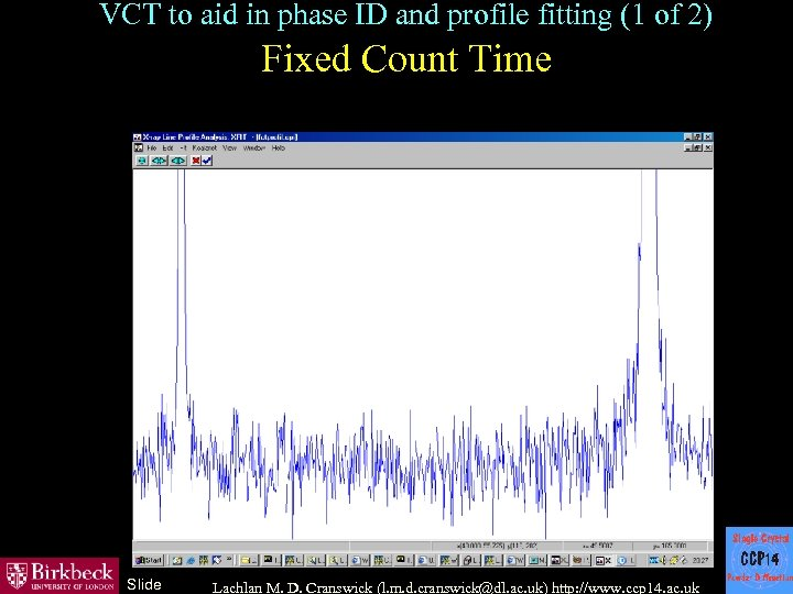 VCT to aid in phase ID and profile fitting (1 of 2) Fixed Count