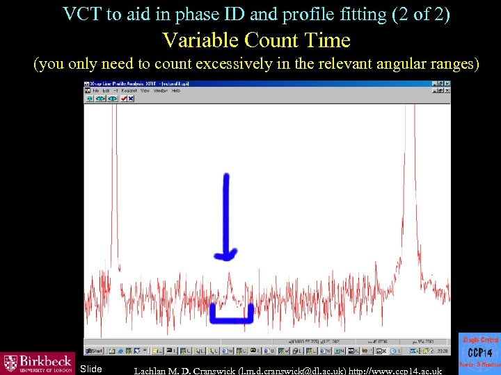 VCT to aid in phase ID and profile fitting (2 of 2) Variable Count