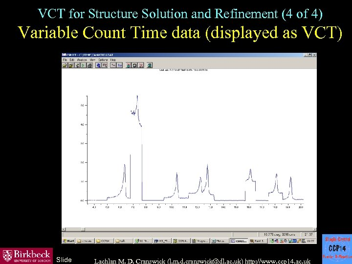 VCT for Structure Solution and Refinement (4 of 4) Variable Count Time data (displayed