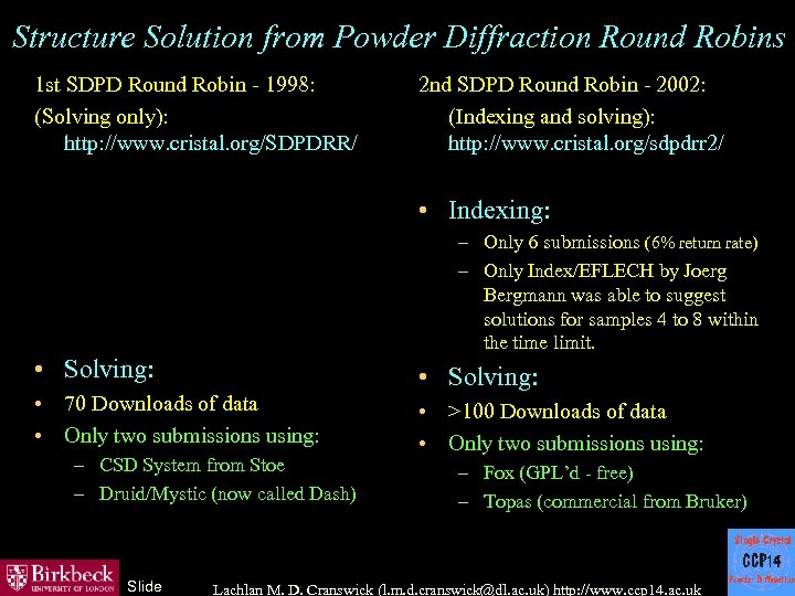 Structure Solution from Powder Diffraction Round Robins 1 st SDPD Round Robin - 1998: