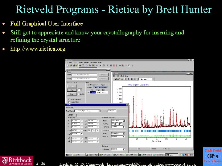 Rietveld Programs - Rietica by Brett Hunter · Full Graphical User Interface · Still