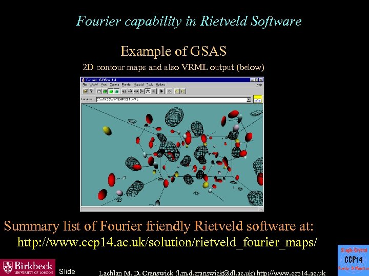 Fourier capability in Rietveld Software Example of GSAS 2 D contour maps and also