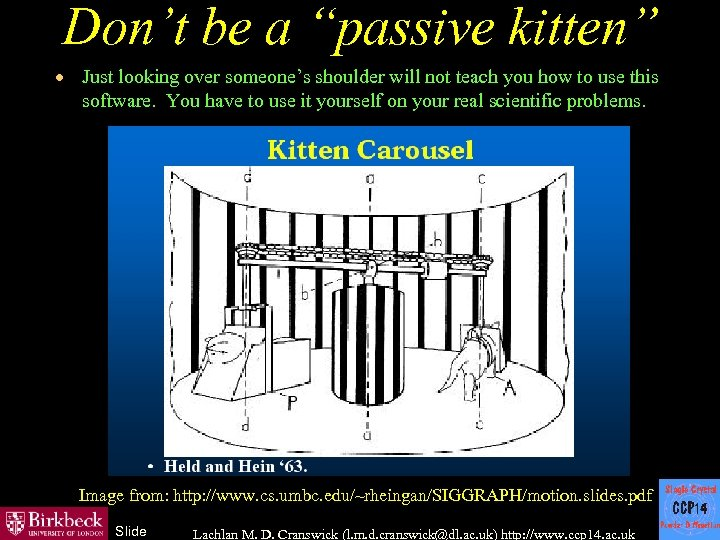 "Don't be a ""passive kitten"" · Just looking over someone's shoulder will not teach"
