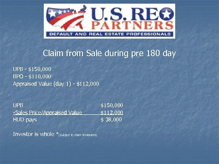 Claim from Sale during pre 180 day UPB - $150, 000 BPO - $110,