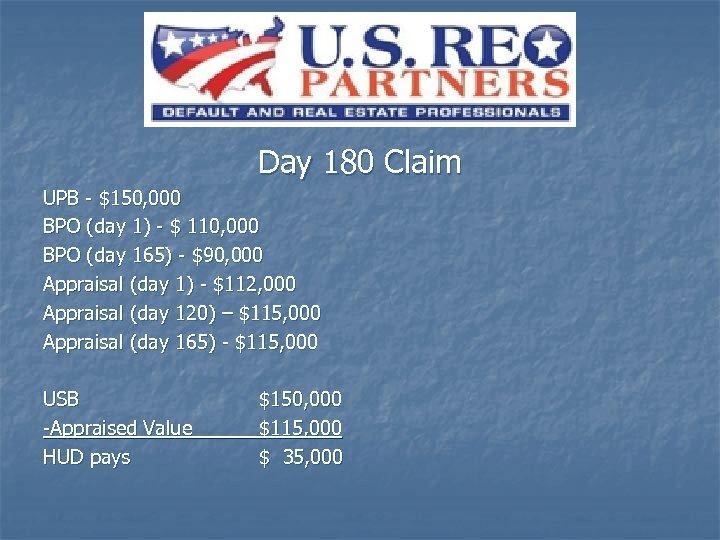 Day 180 Claim UPB - $150, 000 BPO (day 1) - $ 110, 000