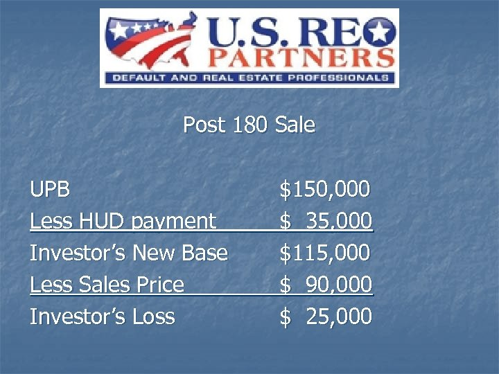 Post 180 Sale UPB Less HUD payment Investor's New Base Less Sales Price Investor's