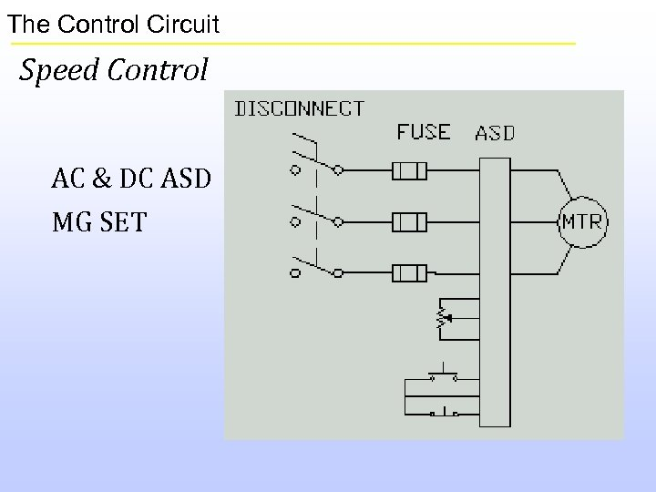The Control Circuit Speed Control AC & DC ASD MG SET