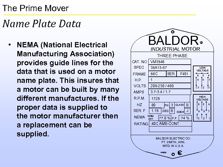 The Prime Mover Name Plate Data • NEMA (National Electrical Manufacturing Association) provides guide