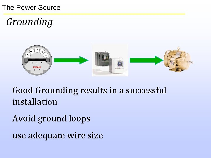 The Power Source Grounding Good Grounding results in a successful installation Avoid ground loops