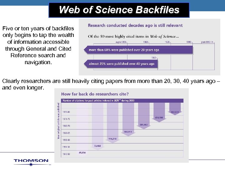 Web of Science Backfiles THOMSON SCIENTIFIC Five or ten years of backfiles only begins