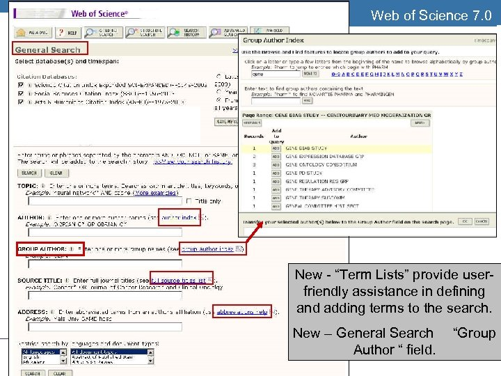 """Web of Science 7. 0 THOMSON SCIENTIFIC . New - """"Term Lists"""" provide userfriendly"""