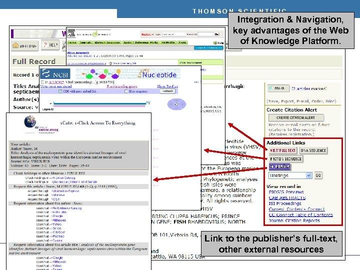 THOMSON SCIENTIFIC Integration & Navigation, key advantages of the Web of Knowledge Platform. Link