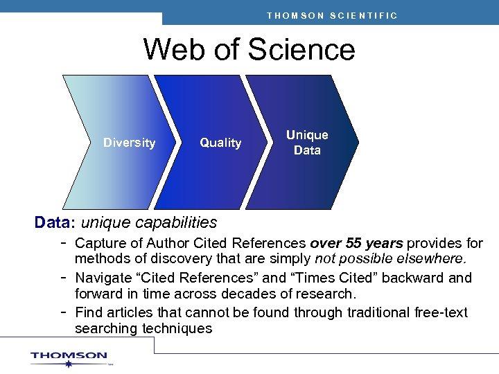 THOMSON SCIENTIFIC Web of Science Diversity Quality Unique Data: unique capabilities – Capture of