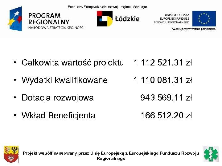Fundusze Europejskie dla rozwoju regionu łódzkiego Inwestujemy w waszą przyszłość • Całkowita wartość projektu