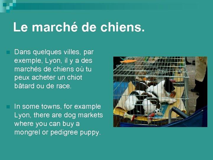 Le marché de chiens. n Dans quelques villes, par exemple, Lyon, il y a