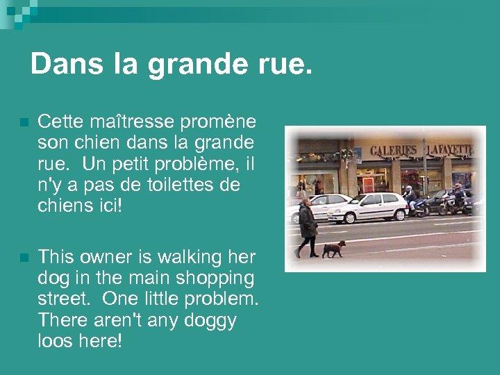 Dans la grande rue. n Cette maîtresse promène son chien dans la grande rue.