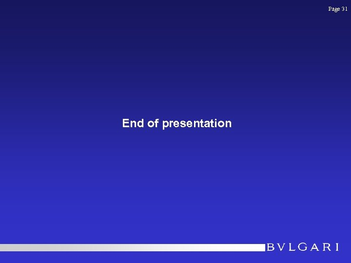 Page 31 End of presentation