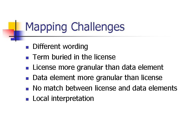 Mapping Challenges n n n Different wording Term buried in the license License more