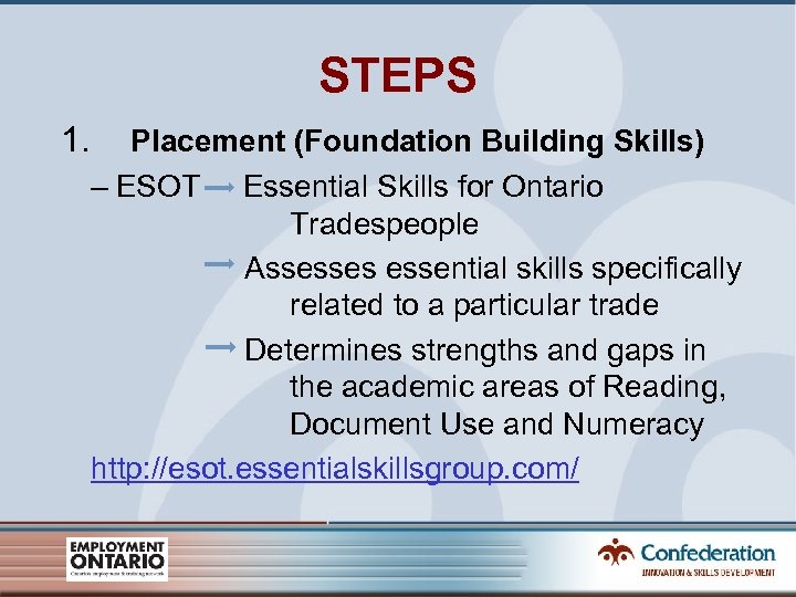 STEPS 1. Placement (Foundation Building Skills) – ESOT Essential Skills for Ontario Tradespeople Assesses
