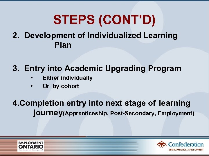 STEPS (CONT'D) 2. Development of Individualized Learning Plan 3. Entry into Academic Upgrading Program
