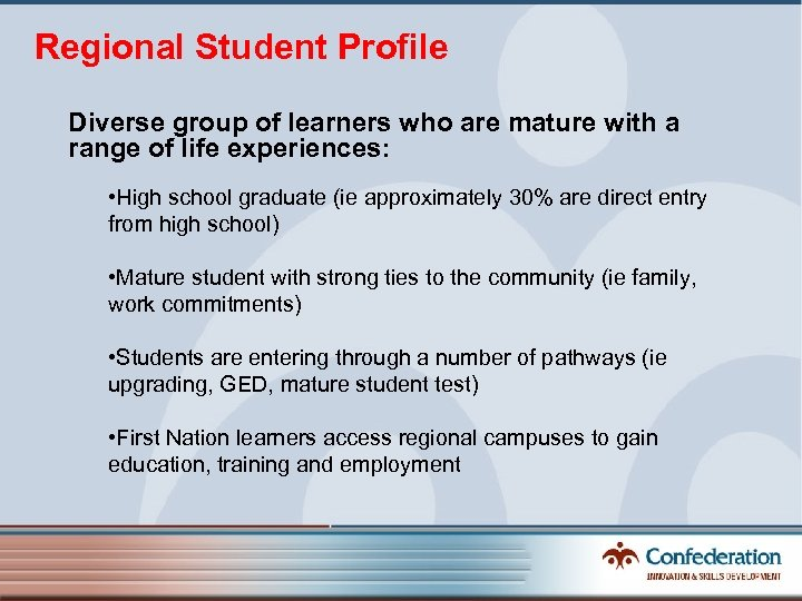 Regional Student Profile Diverse group of learners who are mature with a range of