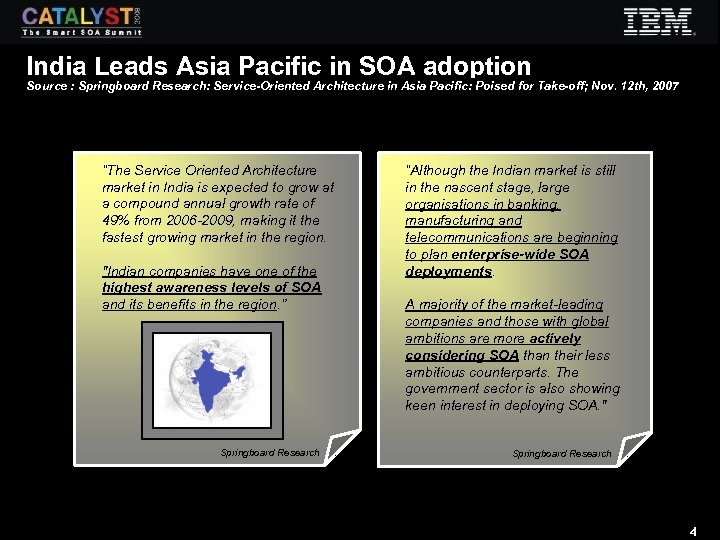 India Leads Asia Pacific in SOA adoption Source : Springboard Research: Service-Oriented Architecture in