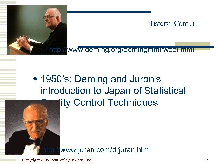 History (Cont. . ) http: //www. deming. org/deminghtml/wedi. html w 1950's: Deming and Juran's