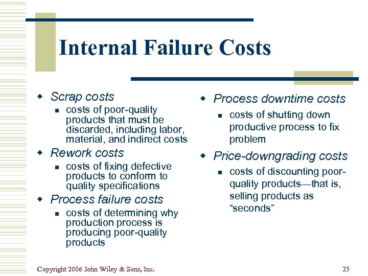 Internal Failure Costs w Scrap costs n costs of poor-quality products that must be