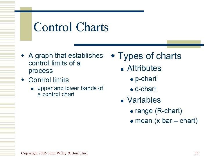Control Charts w A graph that establishes control limits of a process w Control