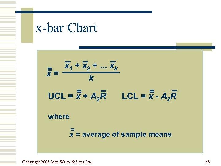 x-bar Chart = = x 1 + x 2 +. . . xk x