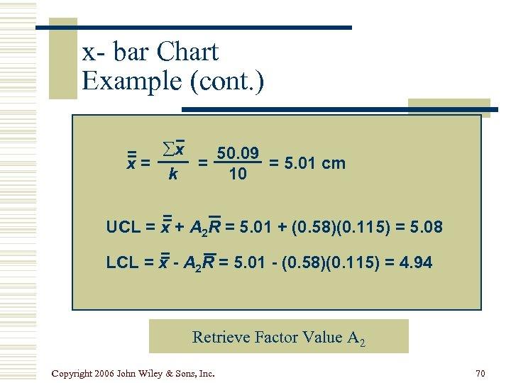x- bar Chart Example (cont. ) 50. 09 = åx x= = = 5.