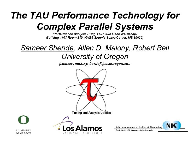 The TAU Performance Technology for Complex Parallel Systems (Performance Analysis Bring Your Own Code