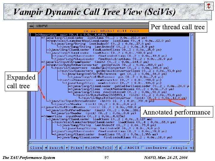 Vampir Dynamic Call Tree View (Sci. Vis) Per thread call tree Expanded call tree