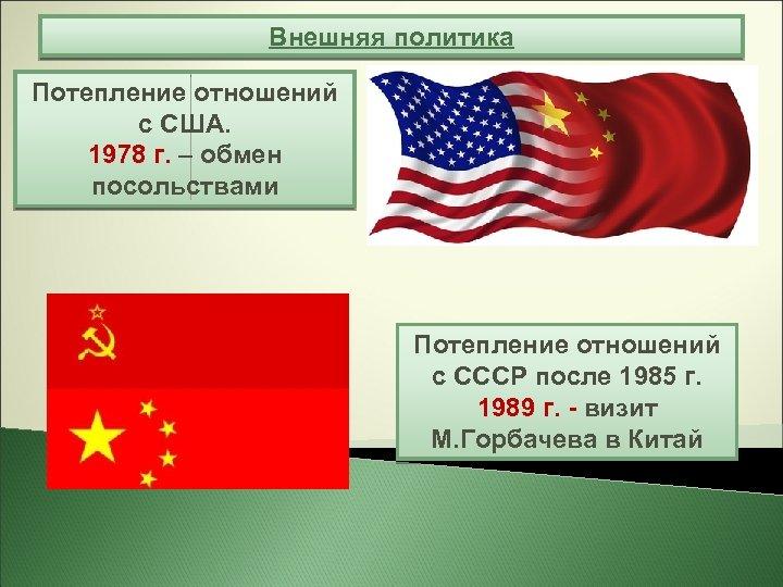 Внешняя политика Потепление отношений с США. 1978 г. – обмен посольствами Потепление отношений с