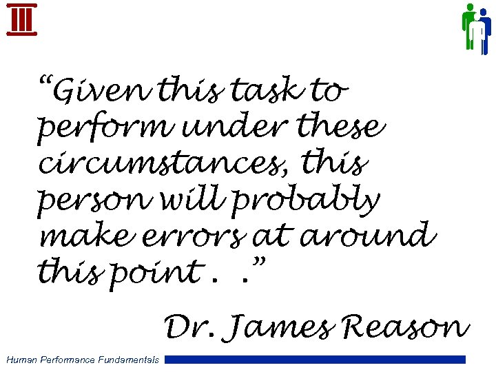 """Given this task to perform under these circumstances, this person will probably make errors"