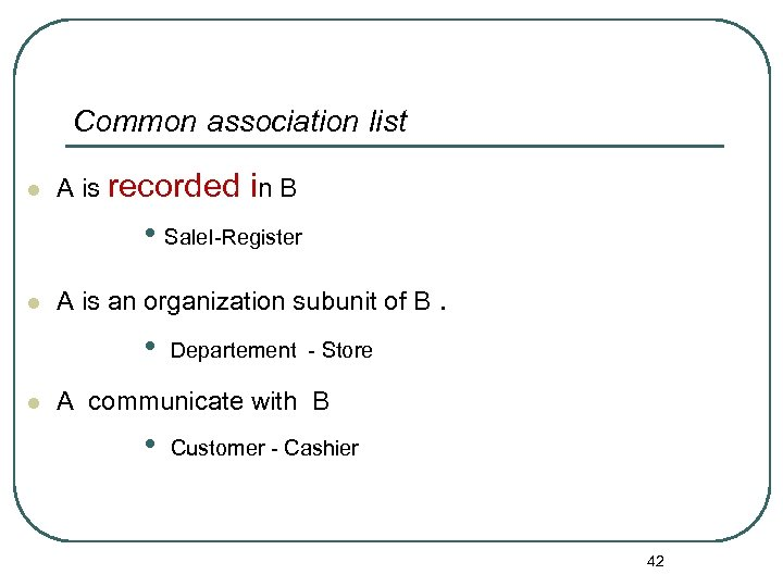 Common association list l A is recorded in B • Sale. I-Register l A