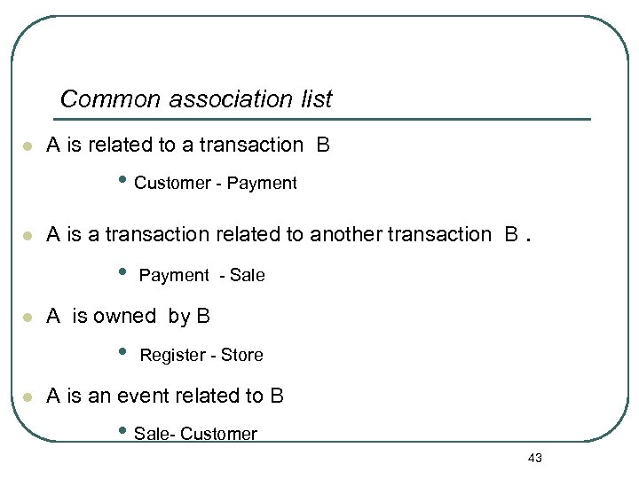 Common association list l A is related to a transaction B • Customer -