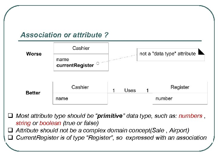 """Association or attribute ? q Most attribute type should be """"primitive"""" data type, such"""