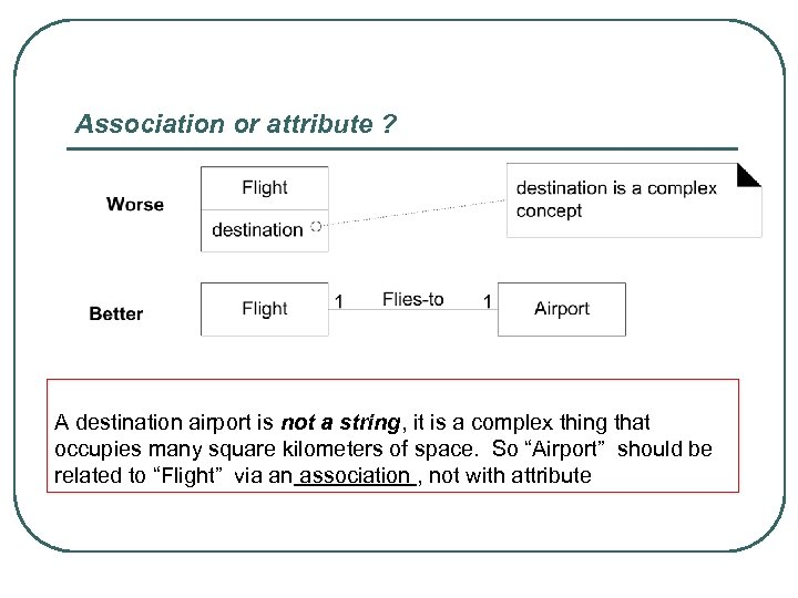 Association or attribute ? A destination airport is not a string, it is a