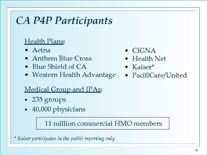 CA P 4 P Participants Health Plans: • Aetna • Anthem Blue Cross •