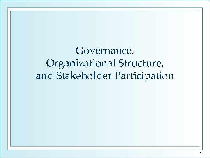 Governance, Organizational Structure, and Stakeholder Participation 13